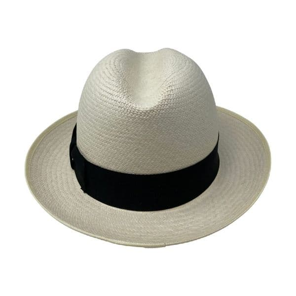Olney Genuine Panama Hat Snap Brim Semi Bleached with Black Band - Trilby